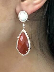 Rose Gold Sterling Silver White & Red Agate White Sapphire Chandelier Earrings