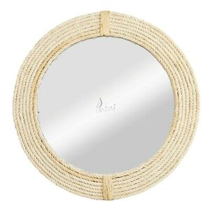 Woven Rope Wall Mirror Rattan Wall Mirror- Hanging Round Mirror Decorative Frame