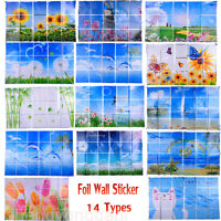 Oil Proof Foil Wall Sticker Kitchen Flower Pattern Decal Home Decor Decoration
