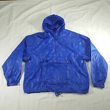 Izod Windbreaker Jacket LARGE Royal Blue 1/2 Zip Pullover Hooded VTG 80s nylon