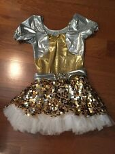 Weissman Dance Costume Gold Silver Sequins Large Adult Clogging Tap Jazz