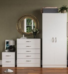 Assembled Bedroom Furniture set 3 Piece Wardrobe Drawers & Bedside Draw