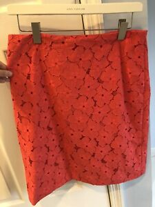 Ann Taylor Women's Red/Orange Skirt With Floral Shapes Size 12