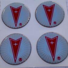 """PONTIAC Silver RED Wheel Center Cap STICKER EMBLEM 1 3/4"""" Set"""