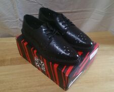 TUK A9083 MENS 9 WOMENS 11 EURO 42 BLACK LEATHER PERFORATED CREEPERS SHOES