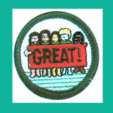 GIRLS ARE GREAT Error Badge Issued in Girl Scout Jr. Jade Green Border RARE