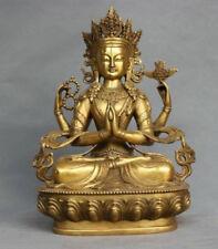 Rare China Tibet Bronze 4 Arms Kwan-yin Chenrizg Buddha Statue