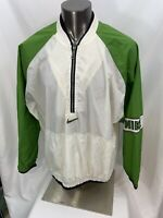 Vintage Nike 1/4 Zip Pullover Windbreaker Jacket White Green 2XL