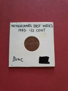 Netherlands East Indies 1945 Half Cent Unc~Last Year Ever