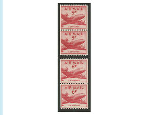 US Airmail, 1948-49, C37 & C41, Mint Coil Pairs, NH, OG, VF, Fresh, Bright Color
