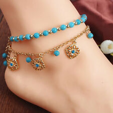 Hot Punk Boho Turquoise Beads Anklets Tassels Bracelet Women Foot Chain Anklet-U