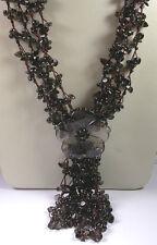 Necklace 4 Strands Smoky Quartz & Flower handcrafted Wedding Mother of Bride