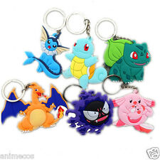 Pokemon Bulbasaur Squirtle Charizard Gastly Chansey Vaporeon Figure Keychain 6pc