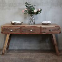 Recycled Wood Storage Unit 3 Drawers Console Table Upcycled Teak Boat