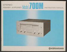 KENWOOD Model 700M Original Amplifier Instruction Manual/Diagram/Description