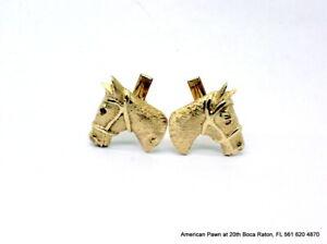 14K Yellow Gold Horse Head Cufflinks Not Scrap