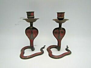 Vintage Pair Blue Red Enamel Brass King Cobra Snake Candlesticks Candle Holders
