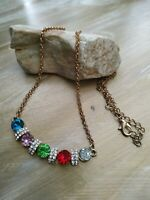 Vintage multicoloured rhinestones goldtone necklace