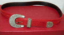 "Vtg 1"" Red Suede Cowhide Belt Wm Western Sz 30 Silver Basket Weave Buckle & Tip"