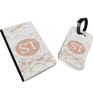 Personalised INITIALS Marble with Circles Printed Passport Cover & Luggage Tag