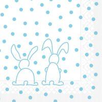 20 Serviette Rabbits in Türkis aus Tissue 33 x 33 cm - Ostern Hasen Kaninchen