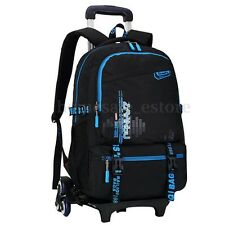 Kids Children Trolley School Luggage Hand Bag with 6 Wheels Removable Backpack