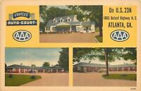 Atlanta Georgia~Frances Auto Court~Motel~Buford Highway~1940s Linen Postcard