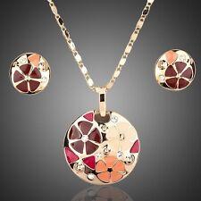 Enamel Round Flower Design 14K Gold Plated Chain Necklace Earrings Jewellery Set
