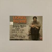 Lionel Richie - NIA Arena Birmingham Oct 22 2004 Concert Ticket Stub