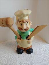 Vintage Ceramic KITCHEN CHEF UTENSIL HOLDER  w/ Wooden Utensils Handpainted EC