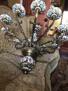 Beautiful Huge Vintage Antique Capodimonte Chandelier Italian Porcelain 12 Arms