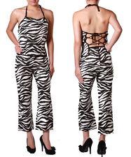 Sexy 2pc Zebra Print Nylon Capri Set w/halter top back lace up.. Size Small