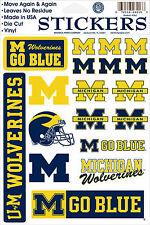 Michigan Wolverines Vinyl Die-Cut Sticker Decals - 18 per sheet