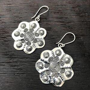 'Karen Hill Tribe' Tribal Shield Design Sterling Silver Earrings