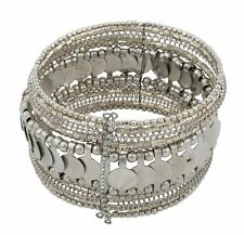 Zest Beaded Wire Overlapping Disk Cuff Bangle Bracelet Silver