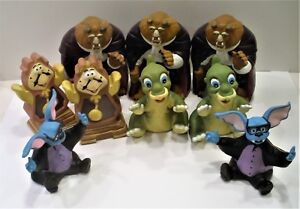 Assortment of 9 Pizza Hut Hand Puppets Beast(3)-Cogsworth(2)-Ducky(2)-Batty(2)