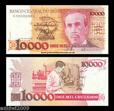 Brasil 10 Cruzados En 10000 Cruzados Nd (1989-90) p-218b Perfecto Unc Billetes