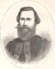 MILITARIA. Civil War. General Stuart c1880 old antique vintage print picture