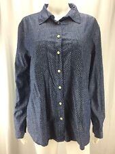 Ann Taylor LOFT Sz L Blue Patterned Chambray 100% Cotton Button Down Long Sleeve