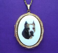 Porcelain Pit Bull Terrier Dog Cameo Locket Pendant Necklace for Christmas Gift