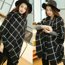 Femmes couverture noir blanc Plaid confortable Tartan foulard écharpe châle