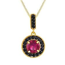 3.2 cttw Pink Ruby & Black Spinel Dangle Pendant Necklace 14K Yellow Gold Over