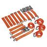 Sealey Car Transporter Ratchet Tie Down Alloy/Steel Wheel Kit 4pc 50mm x 3m 4500