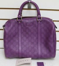 GUCCI Guccissima Purple Leather Satchel Purse Top Boston Joy  265697