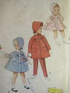 VTG 50s SIMPLICITY 4199 Tdlrs Coat w Detachabl collar~Hat & Pants PATTERN 1T/19B