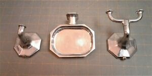 Vintage Chrome Wall Mount Soap Dish and 2 Wall Mount Single Hook and Double Hook