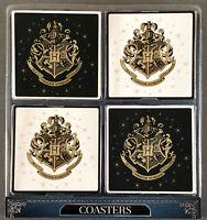 Harry Potter 4 Untersetzer Set Bierdeckel Hogwarts Wappen Schwarz-Weiß Primark