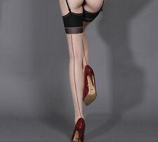 Bas chair couture noire pour porte-jarretelles sexy glamour pinup rétro vintage