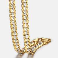 "6mm 18""-36"" Gold Filled Diamond-cut Curb Cuban Link Chain Necklaces Men Unisex"