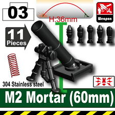 Black M2 Mortar (W224) compatible with toy brick minifigures 60mm